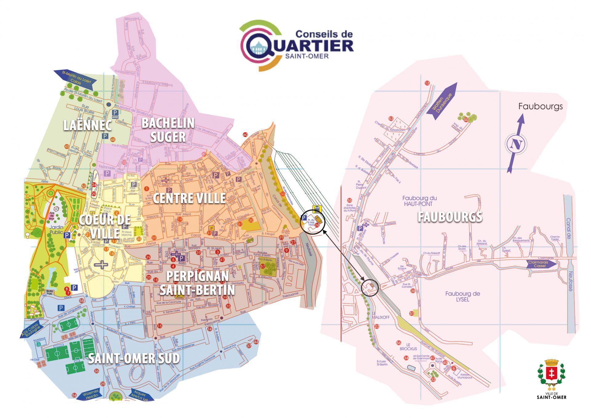 Carte des Conseils de quartier